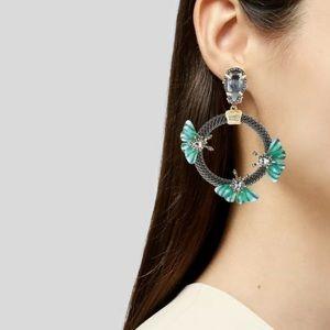 Alexis Bittar brutalist butterfly earrings clip on